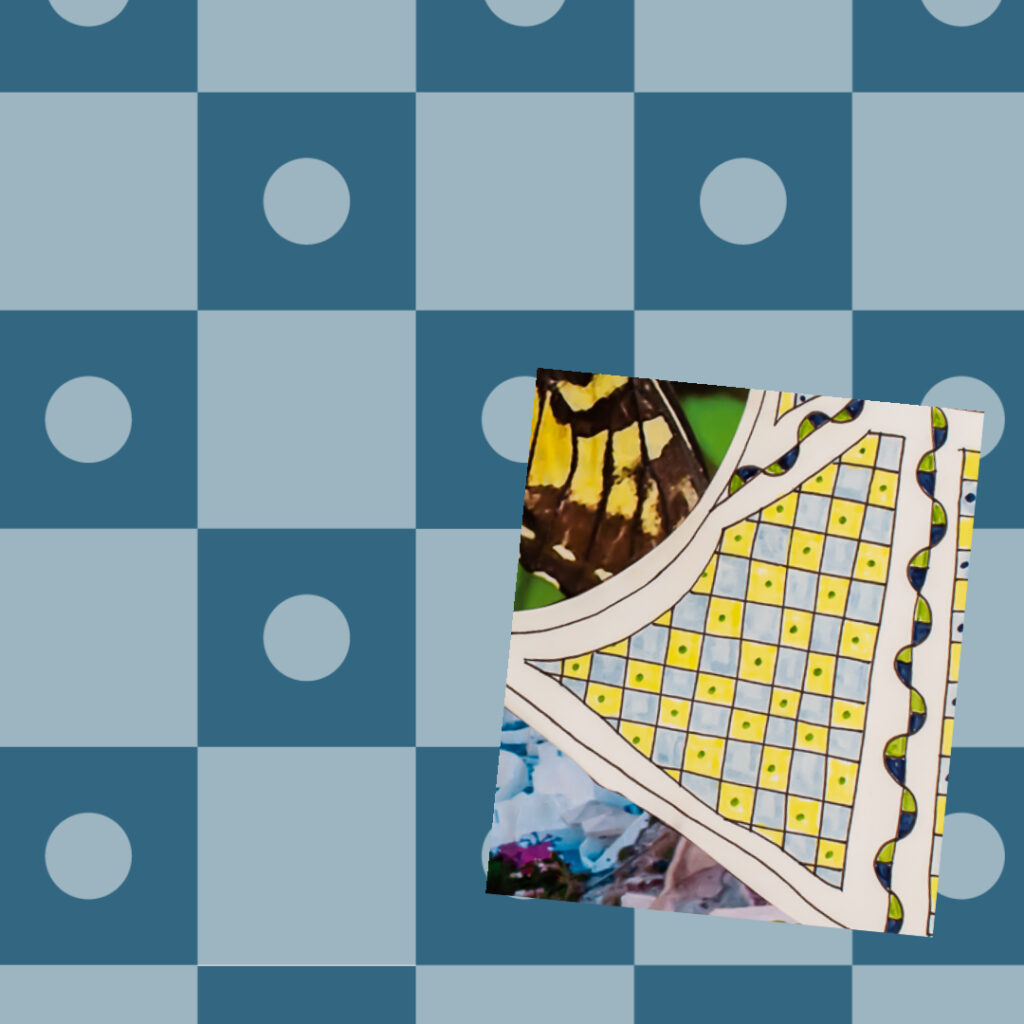 Checkerboard with circles pattern